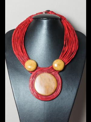 Collier fils de cuir et perles en os