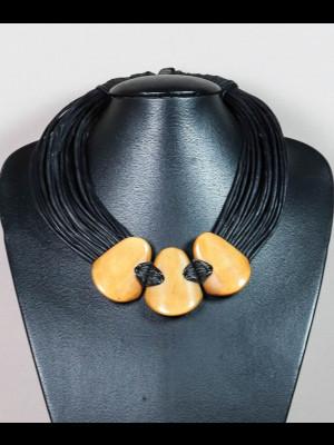Collier 30 fils de cuir et perles en os