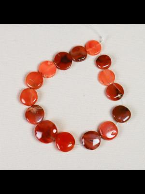 15 perles en cornaline en forme de disque