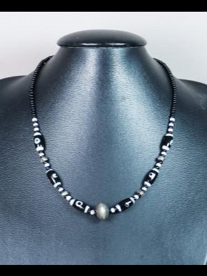 Collier perles en verre et métal argenté