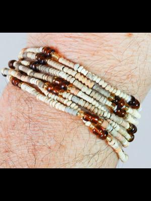"""7 bracelets perles en terre dite """"de Djenné"""" et pâte de verre"""