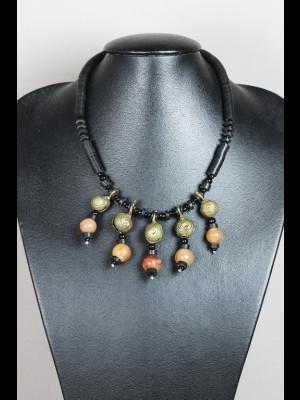 Collier perles en laiton, koffi et cornaline