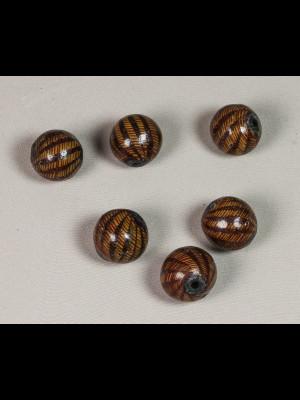 6 perles en terre cuite