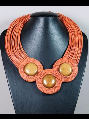 Collier 35 fils de cuir et perles en os