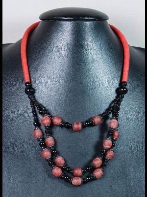 Collier perles du Ghana en verre et koffi