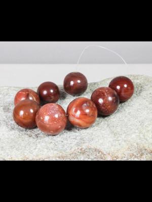 8 grosses perles rondes en cornaline