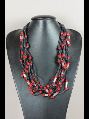 Collier 15 fils de cuir avec des perles en verre et métal argenté