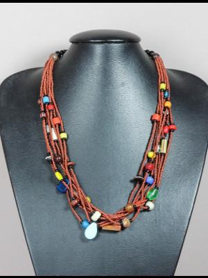 Collier 8 fils de perles en verre