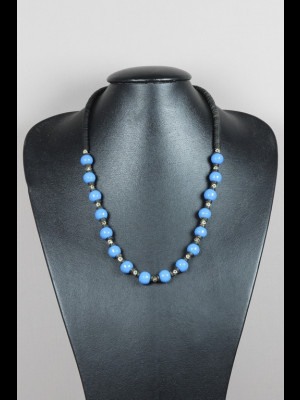 Collier perles en pâte de verre, koffi et métal argenté