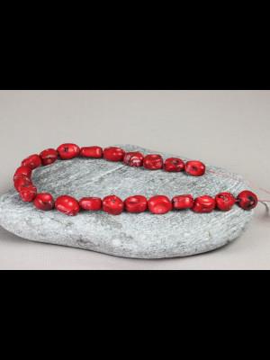 22 perles anciennes en verre imitation corail rouge